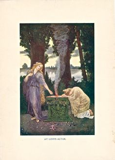 """At Love's Altar,"" one of 8 color illustrations from Twentieth Century Etiquette (1912).  Available at uncannyartist.com/products/illustrations-etiquette"