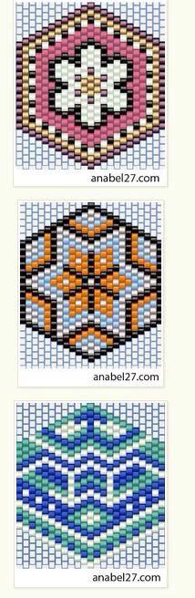 3 Japanese Family Crest Like Patterns ___ Peyote Stitch Peyote Stitch Patterns, Seed Bead Patterns, Beading Patterns, Beading Tutorials, Bracelet Patterns, Stitch Crochet, Crochet Rope, Bead Crochet, Diy Jewelry