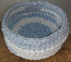 blue and white rag crochet basket bowl by HutsonHollowRugs on Etsy