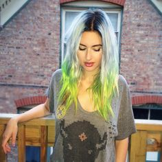 """Hair by Kotay #hairbykotay """"In love with this color I did yesterday! We shadowed her root and pulled a silvery mint thru her mids. Then added some neon yellow and green to her ends!…"""""""