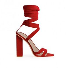 Vera Lace Up Heels in Red Faux Suede