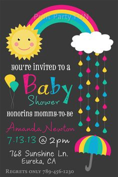 Rainbow Baby Shower Invitation, Rain, Printable file