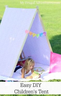 Super easy DIY children's tent tutorial.  This is a perfect quiet reading nook for little ones!