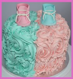 Gender reveal cake order.... It was a girl!! ... This is from my facebook page... Medi's Cake Creations