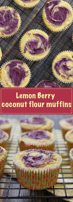 These lemon berry muffins are made out of coconut flour - they're nut-free. Recipe by Ashley of MyHeartBeets.com