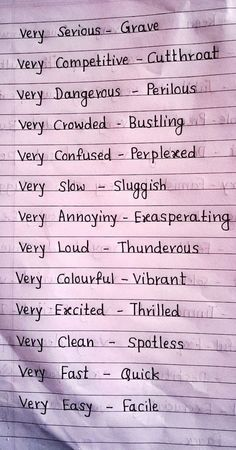 Words to use instead of very Essay Writing Skills, Book Writing Tips, English Writing Skills, Writing Words, Writing Prompts, Writing Help, Writing Ideas, English Vocabulary Words, Learn English Words