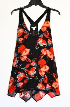 WOMEN TOP ELLA MOSS Fiore Floral  Deep Crochet Shoulders size M NWT  #EllaMoss #TankCami #Various
