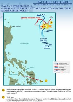 Top Eleven Infographics of the Biggest Naval Battle in History: The Battle of Leyte Gulf Naval History, Military History, Pearl Harbor 1941, Leyte, Armed Conflict, Phase 4, Teaching History, Photo Story, Us Army