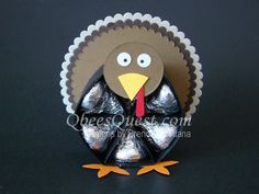 Hershey's Turkey Tutorial   Hershey's Kisses, Thanksgiving, Turkeys, 3D, Favors, Stampin' Up, Simply Scored, Scoring, Layering Circles Framelits, Blossom Builder Punch, Qbee's Quest, Brenda Quintana