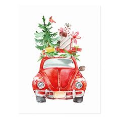 Shop Christmas Retro Car Watercolor Illustration Postcard created by JunkyDotCom. Burlap Christmas, Diy Christmas Tree, Retro Christmas, Christmas Ornaments, Xmas, Watercolor Christmas Cards, Christmas Drawing, Christmas Paintings, Christmas Centerpieces