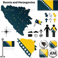 Map of Bosnia and Herzegovina #GraphicRiver Vector of Bosnia and Herzegovina set with detailed country shape with region borders, flags and icons. Package contains: EPS (10 version), JPG (5000×5000 pixels, RGB).