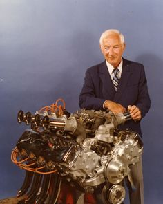Zora Arkus-Duntov with Chevrolet Experimental Big Block V8 Engine engine in 1968.