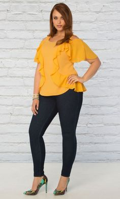 Curvalicious Clothes::New Arrivals::Flawless Flounce Top - Yellow Jubilee