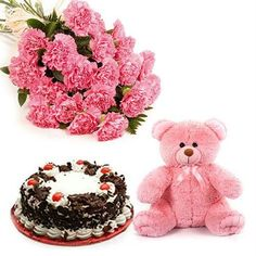 """Surprise whom you Love with these amazingly arranged.Our amazing pink combo is a lively combination of 12 Pink Carnations and a Delicious Cake and 13"""""""" Teddy Bear. Send roses bouquet online to make the special day of your loved one memorable.The amazing Pink Combo suits every occasion; birthdays, anniversary and other happy events.New year gives you tasteful and gracious memories throughout the year.Shop2guntur.com helps to deliver your sweet wishes through this combo."""