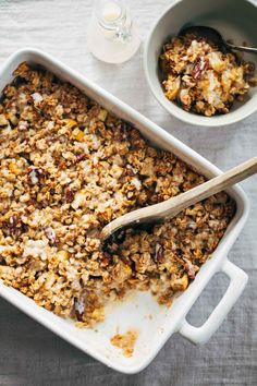 Coconut Oil Apple Crisp - a wholesome, cozy treat made with oats, pecans, cinnamon, honey, almond meal, and coconut oil!