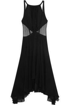 Faith Connexion Isabeli Fontana mesh-trimmed silk dress   NET-A-PORTER
