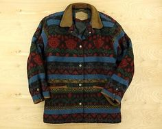 usa-made-WOOLRICH-wool-blend-snap-front-jacket-coat-SMALL-indian-blanket-navajo