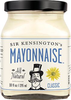 Sir Kensington's Classic Mayonnaise | prepared after the French tradition with cage-free eggs, smooth sunflower oil, and bright hints of citrus. Silky and versatile, it's an elegant offering suited for dipping, spreading, and a multitude of as-yet undiscovered applications.