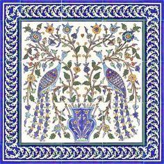 Two elegant peacocks tile mural, with cobalt blue border tiles Tile Murals, Tile Art, Ceramic Decor, Ceramic Art, Border Tiles, Portuguese Tiles, Decorative Tile, Ceramic Painting, Tile Patterns