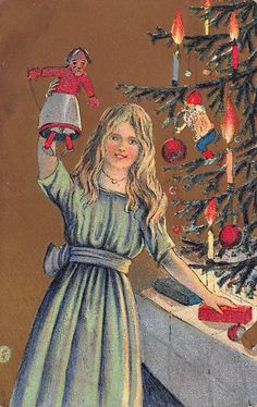 Christmas Postcard Girl Holding Up a Doll by a Candlelit Tree~108875 #Christmas