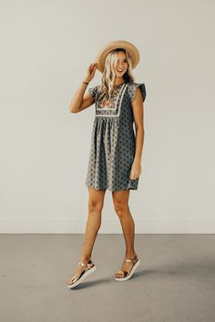 Penelope Embroidered Dress | ROOLEE