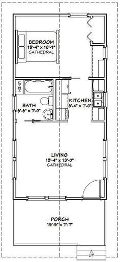 16x32 Tiny Houses 511 sq ft PDF Floor by ExcellentFloorPlans: