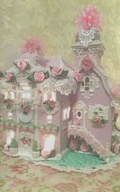 ~ Pink Christmas Light Up Piece ~. Shabby Chic Christmas, Victorian Christmas, Vintage Christmas, Pink Christmas Lights, Pink Christmas Decorations, Glitter Houses, Christmas Villages, Decorative Boxes, Dolls
