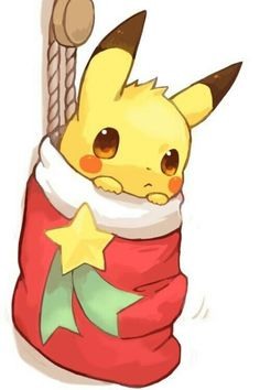 Merry Christmas, Pikachu, stocking, cute; Pokemon