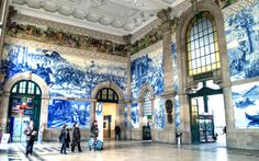 Blue and white azulenjo tiles in Porto train station, Portugal