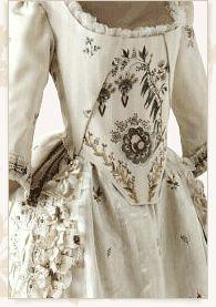Dress, France, circa 1780-1785.  Embroidered pekin, silk.  Inv. 29796 Musees des Tissus et des Arts Decoratifs de Lyon