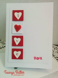 Love you card with heart button made by Taunya Butler