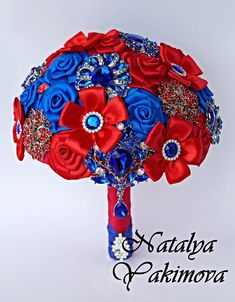 Brooch Bouquet, Bridal Bouquet, Wedding Bouquet, Fabric Bouquet, Unique Wedding Bridal Bouquet, Red and Blue