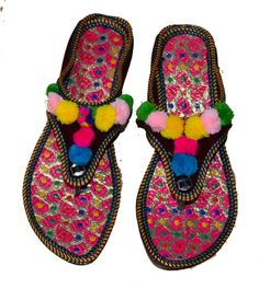 bea2e6aa4e94 US SIZE 8 WOMENS FLAT SLIPPERS INDIAN DOUBLE EMBROIDERY COLORFUL SANDAL   fashion  clothing  shoes  accessories  womensshoes  sandals (ebay link)