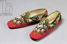 Berlinwork slippers, 1860s. Cheltenham ARt Gallery & Museums, Gloucestershire.