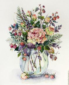 Купить Букетик с розами и ягодками - коралловый, розовый, сиреневый, нежно-розовый, желтый цвет, ягоды