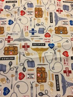 What the Dr Ordered 100% cotton fabric yard Medical Dr Bandage stethoscope ECRU #QuiltingTreasures