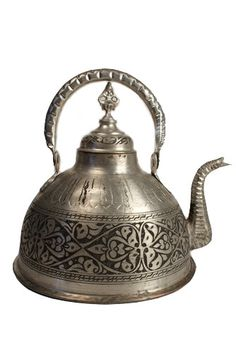 Turkish hand tooled tinned copper teapot, flat bottom and bail handle, Gaziantep, Turkey