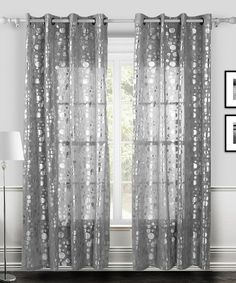 White & Silver Twinkle Curtain Panel - Set of Two