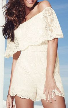 White Off Shoulder Ruffle Lace Romper Playsuit