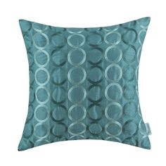 """Amazon.com - Euphoria CaliTime Contempo Decorative Throw Pillow Cushion Covers Pillowcase Shell Faux Silk Two-tone Circles Rings Chain Embroidered Teal Color 18"""" X 18"""" -"""