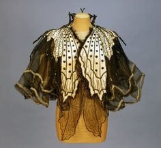PINGAT JET BEADED BUTTERFLY EVENING CAPE, 1890's. Front