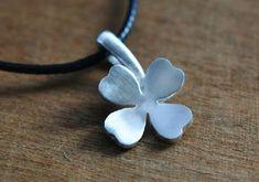 Silver Lucky Clover Pendant Handmade Silver Pendant by HXStudio, $38.00