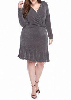 MICHAEL Michael Kors Dark Gray Plus Size Long Sleeve Flounce Dress