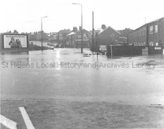 28 Dec 1978 Photograph taken at p. Black and white photograph showing extensive flooding near the Ship Inn, Blackbrook Road, Blackbrook, St. Black brook had overspilled! The Ship Inn, Saint Helens, Family Album, Past, England, Memories, Black And White, Beach, Water