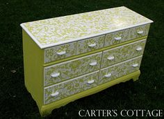 Arabesque Moroccan Stencil and Chalk Paint® decorative paint on Dresser by Carter's Cottage http://www.carterscottage.net/2013/07/english-yellow-pure-white.html