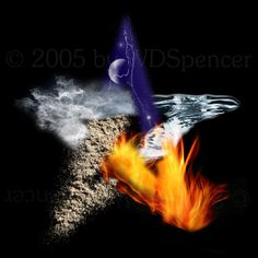 5 elements- earth, air, fire, water & spirit Wicca Magick