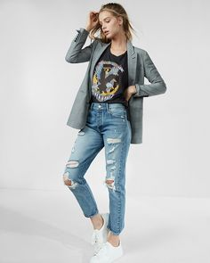 Meet your new favorite jeans. This casual-cool pair hugs your curves comfortably and maintains shape thanks to a rigid design. Distressed accents and a slim fit provide a flattering look that commands attention.