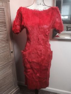 Guy Laroche - Fur dress in red