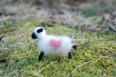 Felted Sheep Love Ewe Love You Valentine's Day Pink Heart. $7.00, via Etsy.