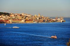 The Tagus river (rio Tejo) and the historical center of Lisbon, capital of Portugal